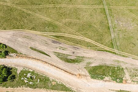aerial view of dirt racetrack for off road vehicles. scenic countryside landscape