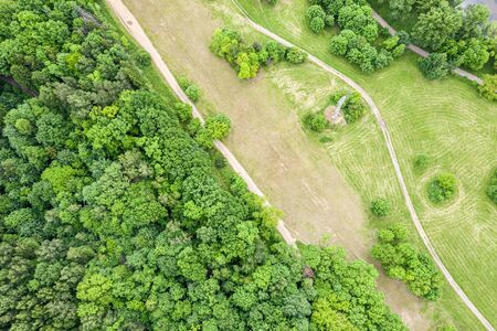 green landscape with country road in the field near  deciduous forest. natural rural landscape, aerial top view