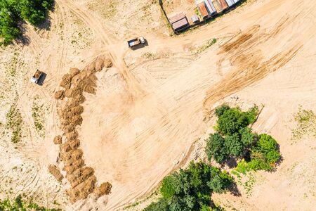 aerial top view of site ready for construction of new building. land being prepared for building construction Stock Photo