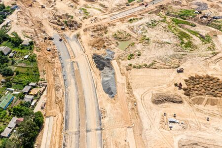 aerial top view of construction site. construction of new asphalt road