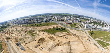 aerial panoramic view of city construction site landscape