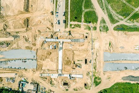 aerial top view of construction site. building of road junction