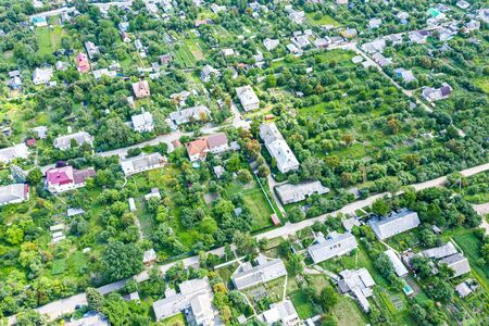 aerial top view of suburb area taken with a drone on a sunny day