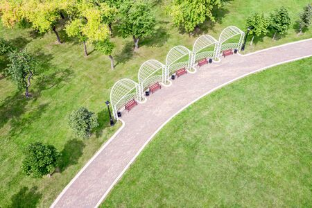summer park landscape. aerial view of park benches near walking path. green lawn and trees in sunny day Stockfoto