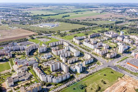 apartment buildings in a residential neighborhood on a sunny day in Minsk, Belarus. aerial view