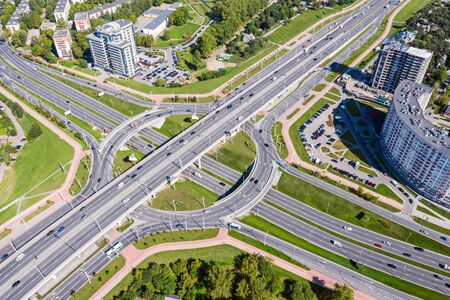aerial top view of road roundabout traffic. Minsk, Belarus. cityscape drone image Stock Photo