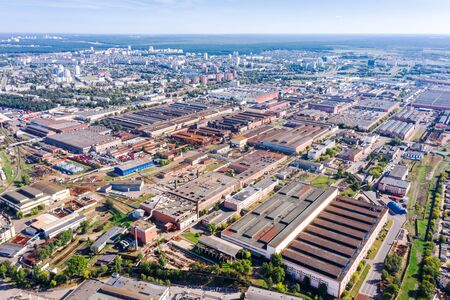 aerial view of big industrial area. industrial park of factories manufacturing companies