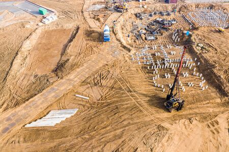aerial view footing and foundation reinforce concrete of construction site. new apartment building under construction