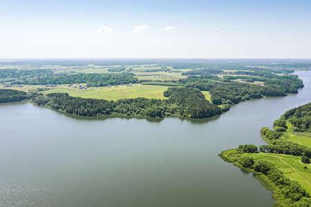 aerial view of summer countryside landscape. Lake Dubrovskoe, Minsk region, Belarus.