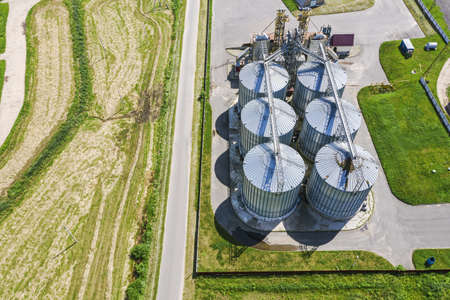 silos for drying cleaning and storage of agricultural products, flour, cereals and grain. aerial photography