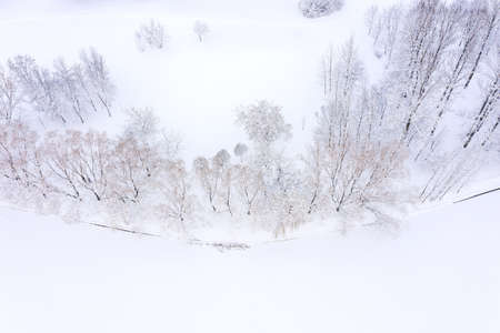aerial top view of winter landscape with frozen river and trees on riverbank