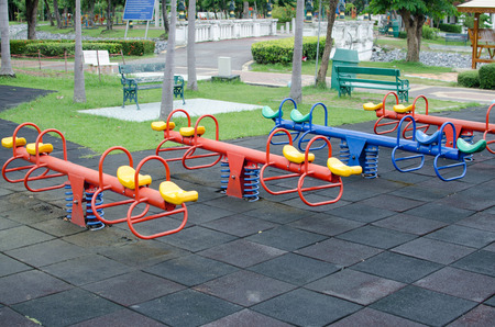 wean: Totter in playground Stock Photo