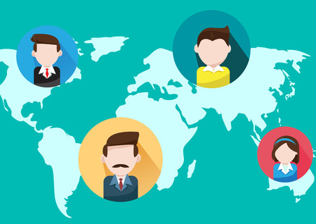 Global Communications and business people  on world map Illustration