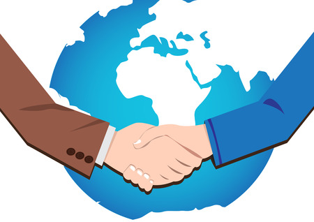 Vector concept  handshake businessmen deal and partnership in world Illustration