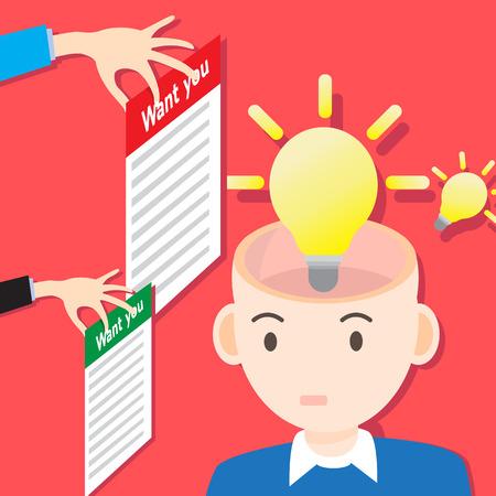 Vector concept idea bulb light and job search i want you Illustration