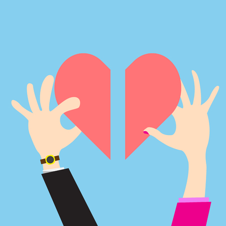heart puzzle: Vector hand men and women giving for  love Illustration