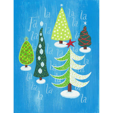 Christmas trees modern retro ornaments star
