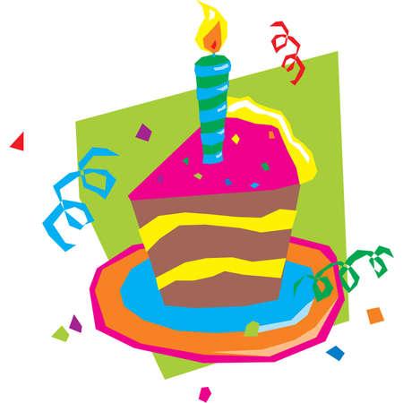 A slice of celebration cake Ilustração