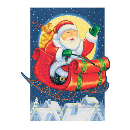 Santa Claus flying on his sleigh above a sleepy little town Illustration