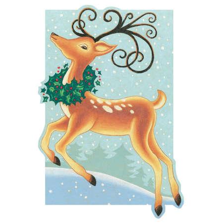 Reindeer prancing through the wintery meadow