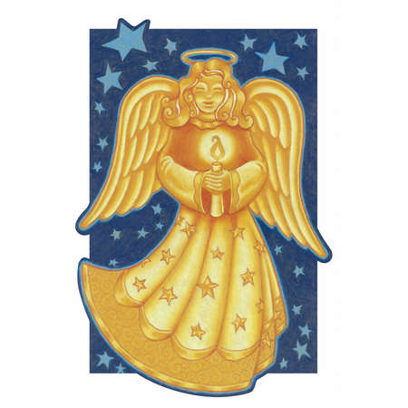 Angel lit up from the glow of a holiday candle Illustration