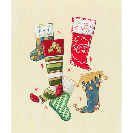 Christmas stockings hanging with care 向量圖像