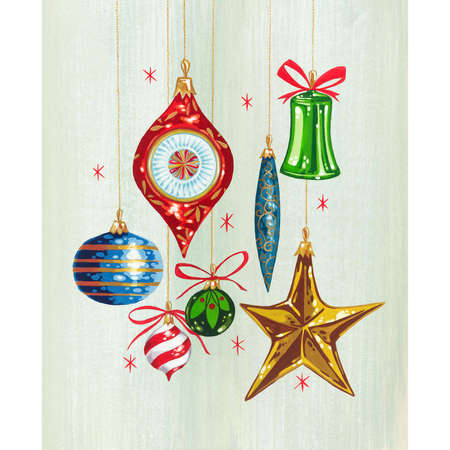 Hanging Ornaments with sparkles and bows 向量圖像