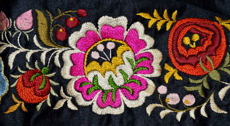 folklore: The old Moravian folklore embroidery Stock Photo