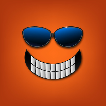 happy smile with white teeth and sunglasses.