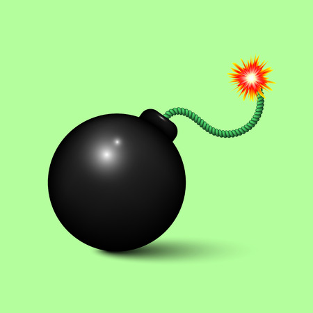 the wick: Bomb About To Blast Illustration of a cartoon black bomb icon about to explode with burning wick