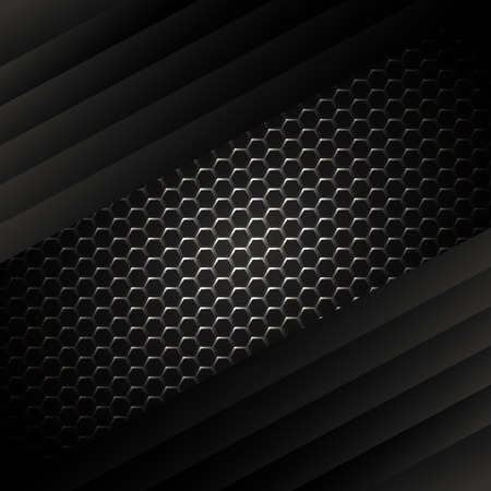 Black background and silver line grey curve with dimension overlap layer on space background for text and message design
