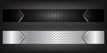 aluminum background: Set of metal banners.Full banner.EPS10