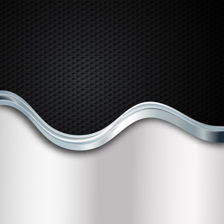 gray strip backdrop: abstract vector background with waves and metallic elements
