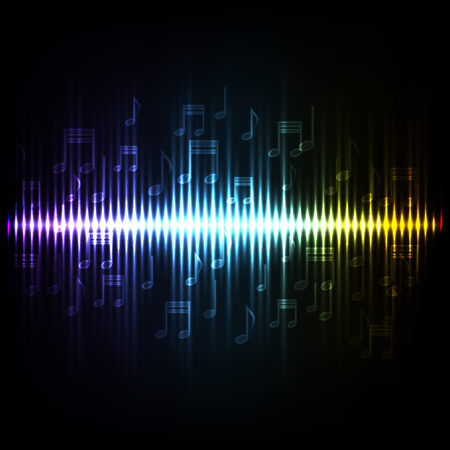 and sound: Las ondas de sonido oscilante brillan con luz. background.EPS10 abstracto de la tecnolog�a