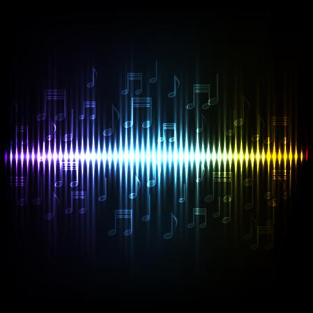 Sound waves oscillating glow light. Abstract technology background.EPS10 Illusztráció