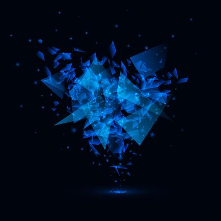 Explosión azul del vector del estilo techno.