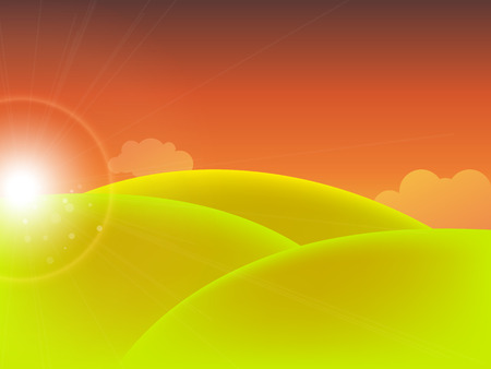 accidentado: Vector background of field at sunset.