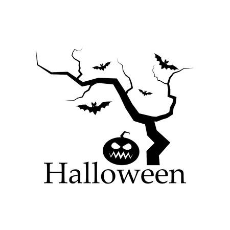 clipart: Spooky silhouette of Halloween tree, pumpkin and bats.Vector design elements.