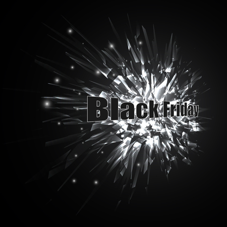 Abstract black and white vector explosion with inscription