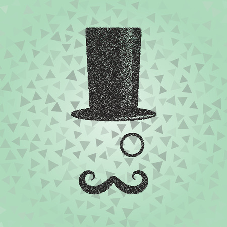 old fashioned: Dotwork old fashioned gentleman. Vector illustration