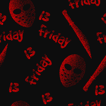 13th: Friday the 13th seamless pattern.