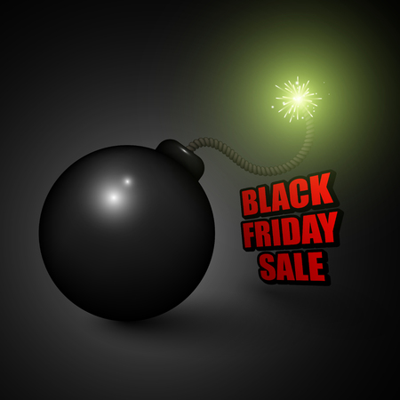 bomb price: Black friday sale background with  cartoon bomb ready to explode.