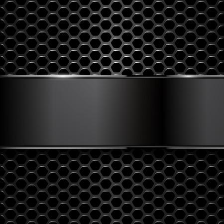 黒メタリック バナーと六角形の幾何学的なパターンは。EPS10