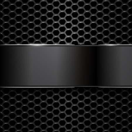 black banner: geometric pattern of hexagons with black metallic banner. EPS10