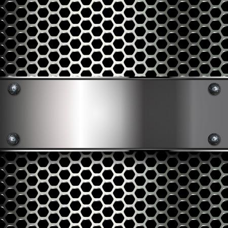 metallic: geometric pattern of hexagons with metallic banner. EPS10