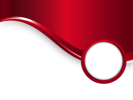 Red vector metal background with wave and round frame for your text 向量圖像