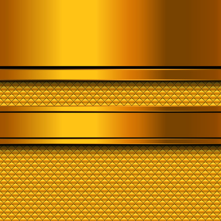 metal template: Abstract golden metal template background design, vector illustration