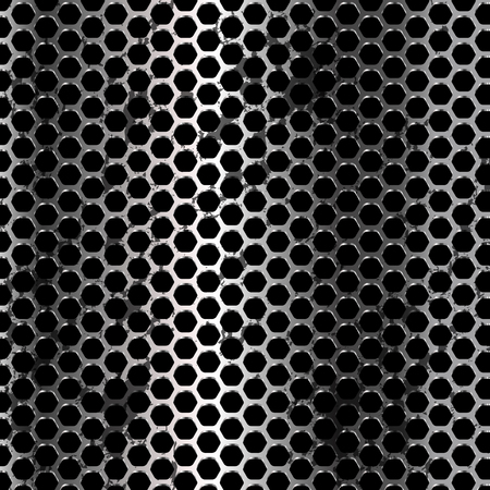 industrial hole: Grunge metal background. Vector geometric pattern of hexagons.
