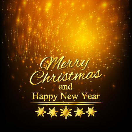 greeting card background: Merry Christmas And Happy New Year. Greeting Card. Golden background Stock Photo