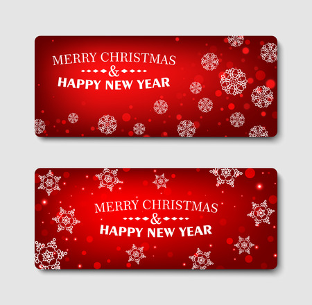 merry: Merry Christmas, banner design background set, vector illustration